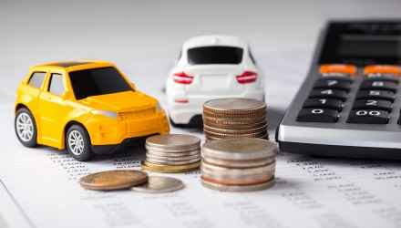Cars and coins with calculator on financial statement