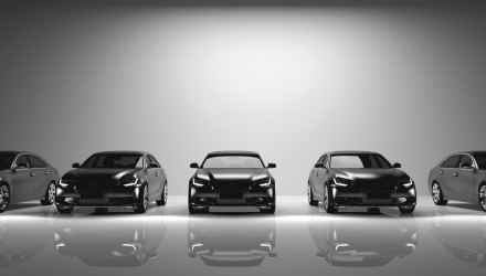 Fleet of black cars on light background. Brandless sedan vehicle, transportation. 3D illustration.